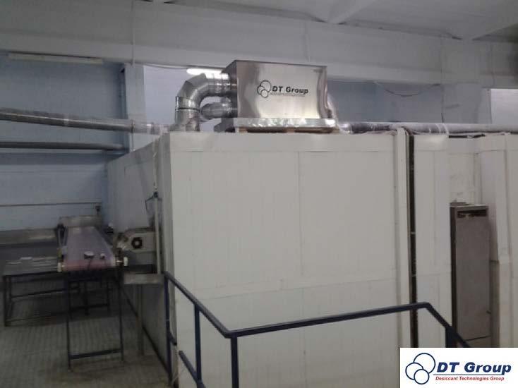 Адсорбційний роторний осушувач повітря Desiccant Technologies Group DryFrost  Встановлений на виробничій лінії «Гарту морозива» - камера шокової заморозки.